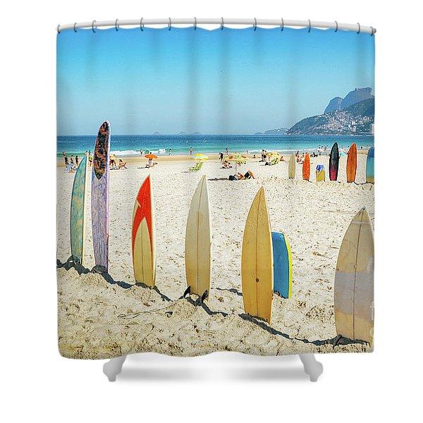 Surfboards On Ipanema Beach, Rio De Janeiro Shower Curtain