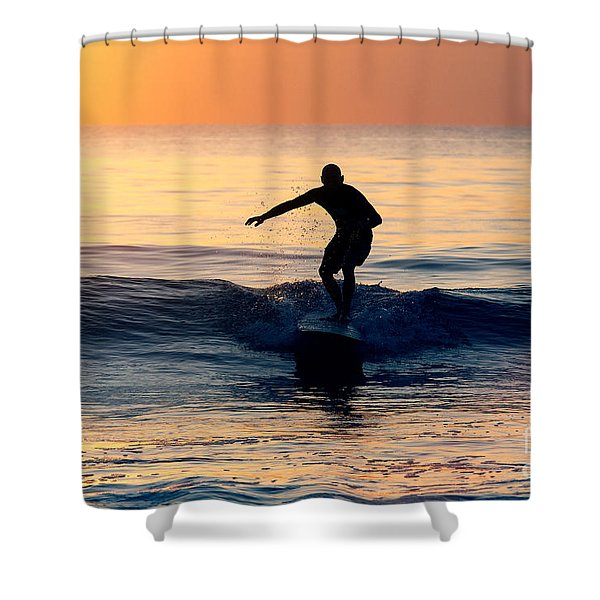 Surfer At Dusk Shower Curtain