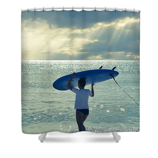 Surfer Girl Square Shower Curtain
