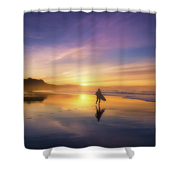 Surfer In Beach At Sunset Shower Curtain