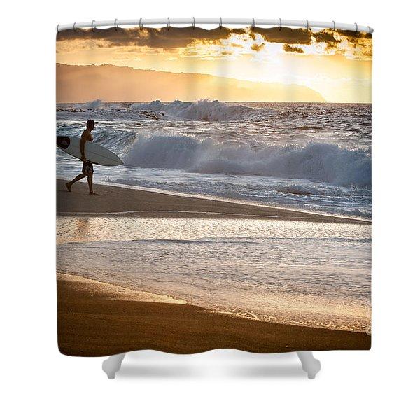 Surfer On Beach Shower Curtain