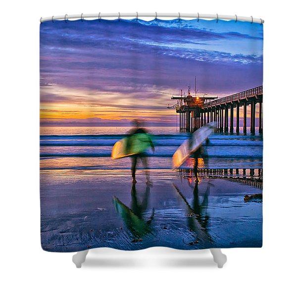 Surfers At Scripps Pier In La Jolla California Shower Curtain