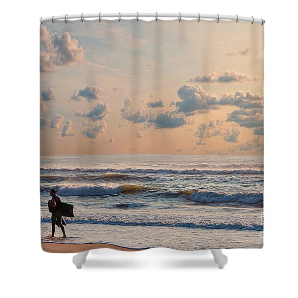 Surfing At Sunrise On The Jersey Shore Shower Curtain
