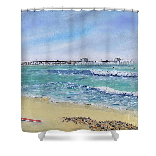 Shower Curtain featuring the painting Surfing In San Clemente by Mary Scott