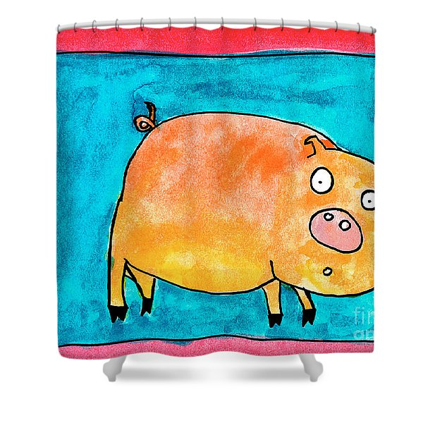 Surprised Pig Shower Curtain