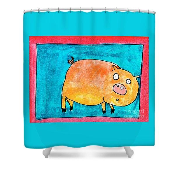 Surprised Pig Shower Curtain
