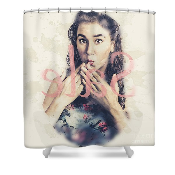 Surprised Pin Up Window Shopper At Store Sale Shower Curtain
