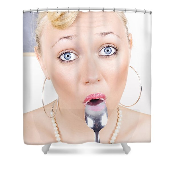 Surprised Pinup Woman Eating Dessert With Spoon Shower Curtain