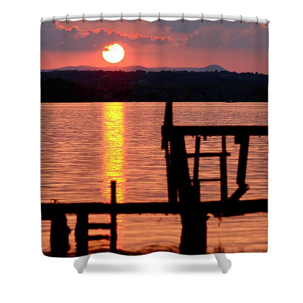 Surreal Smith Mountain Lake Dockside Sunset 2 Shower Curtain