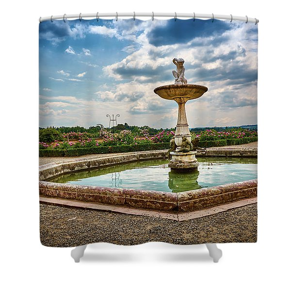 The Monkeys Fountain At The Gardens Of The Knight In Florence, Italy Shower Curtain