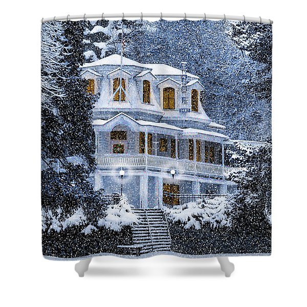 Susanville Elks Lodge At Christmas Shower Curtain