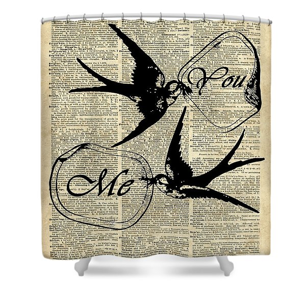 Swallows In Love,flying Birds Vintage Dictionary Art Shower Curtain