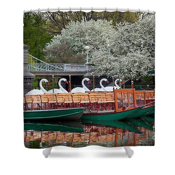 Swan Boat Spring Shower Curtain