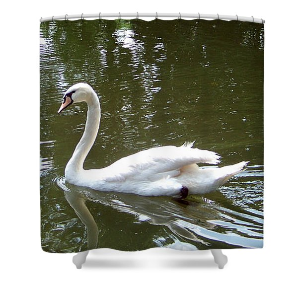 Shower Curtain featuring the photograph Swan by Charles Robinson