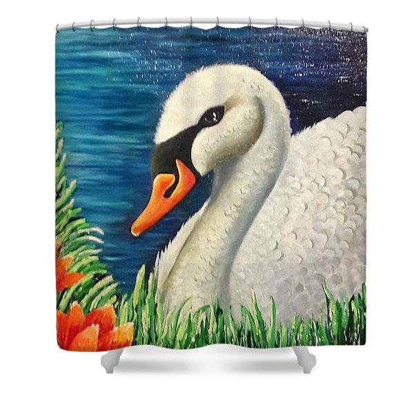 Swan In Pond Shower Curtain