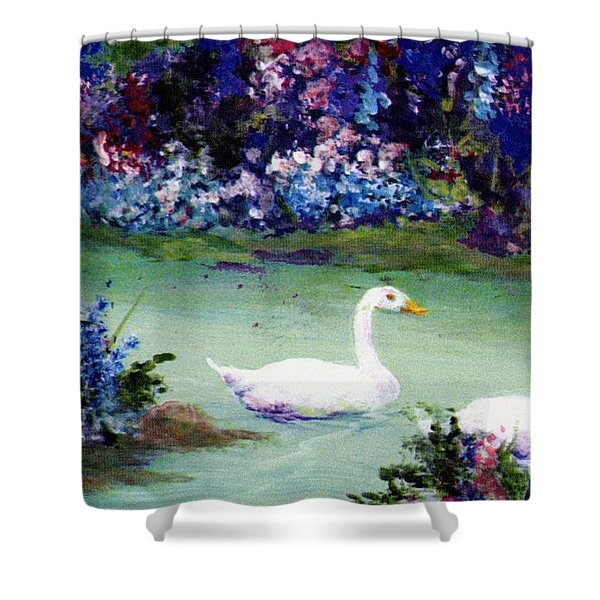 Shower Curtain featuring the mixed media Swan Lake by Writermore Arts