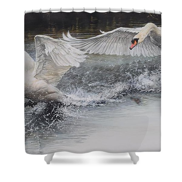 Shower Curtain featuring the painting Swans In Dispute by Alan M Hunt