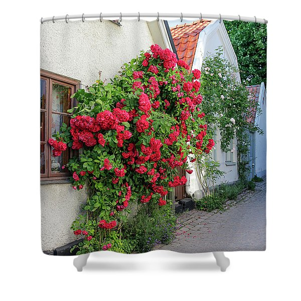 Swedish Town Visby, Famous For Its Roses Shower Curtain