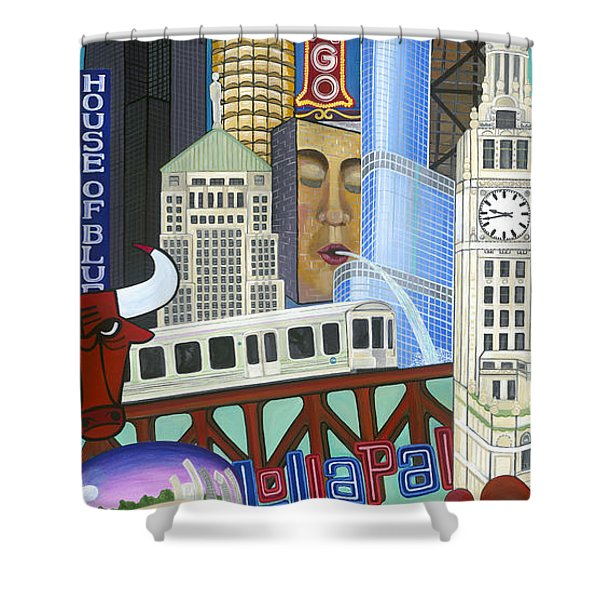Shower Curtain featuring the painting Sweet Home Chicago by Carla Bank