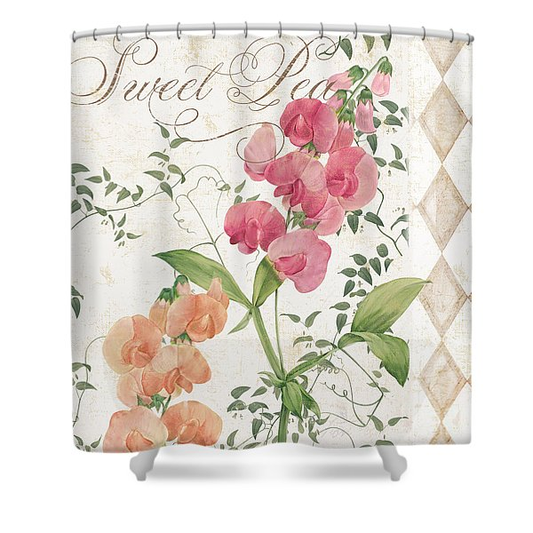Sweet Pea Flowering Plant Shower Curtain