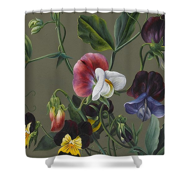 Sweet Peas And Violas Shower Curtain