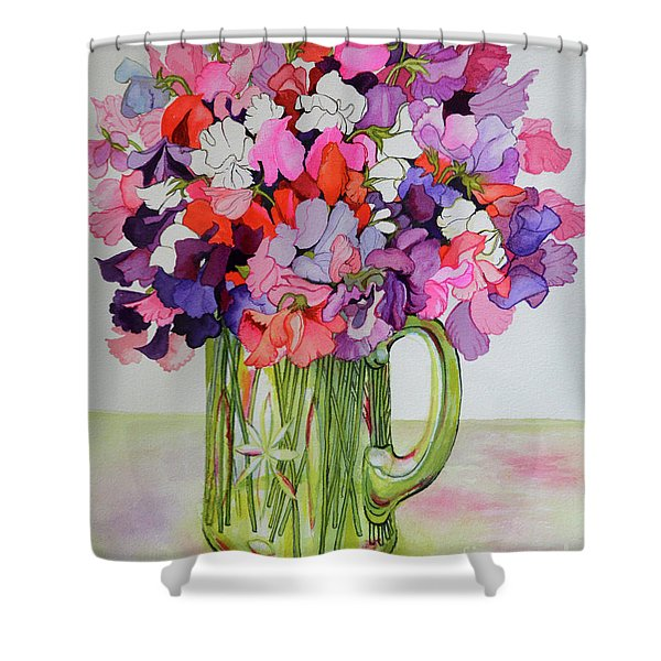 Sweet Peas In A Glass Jug Shower Curtain