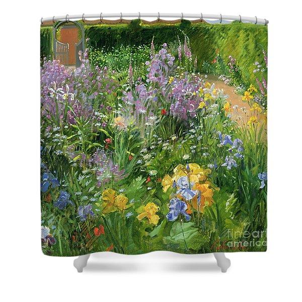 Sweet Rocket - Foxgloves And Irises Shower Curtain