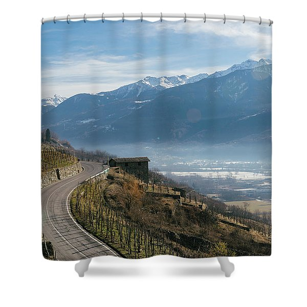 Swerving Road In Valtellina, Italy Shower Curtain