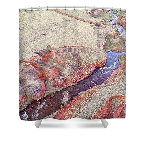 swift creek at  Colorado foothills - aerial view Shower Curtain