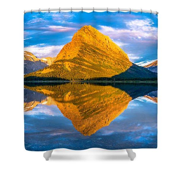 Swiftcurrent Lake Sunrise Panorama Shower Curtain