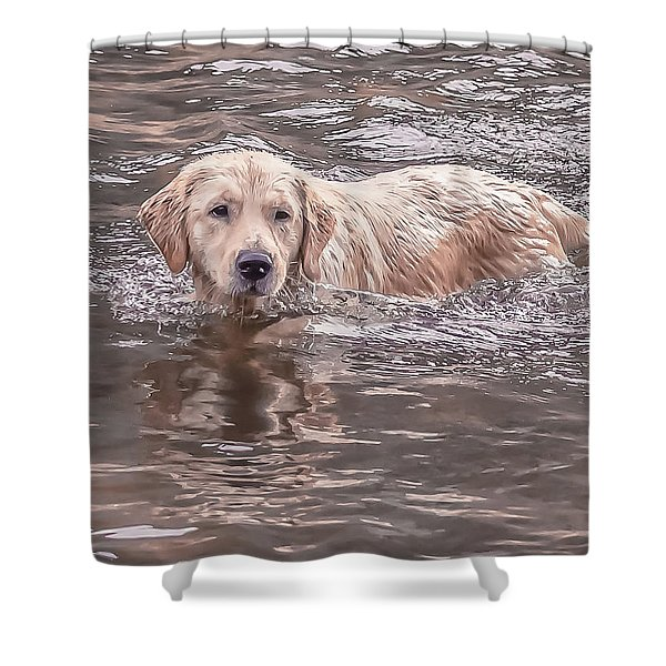 Swimming Puppy Shower Curtain