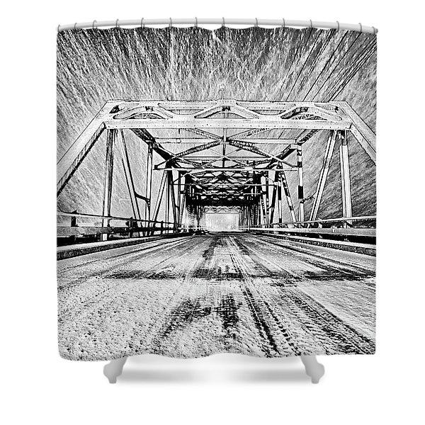 Swing Bridge Blizzard Shower Curtain