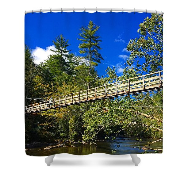 Toccoa River Swinging Bridge Shower Curtain