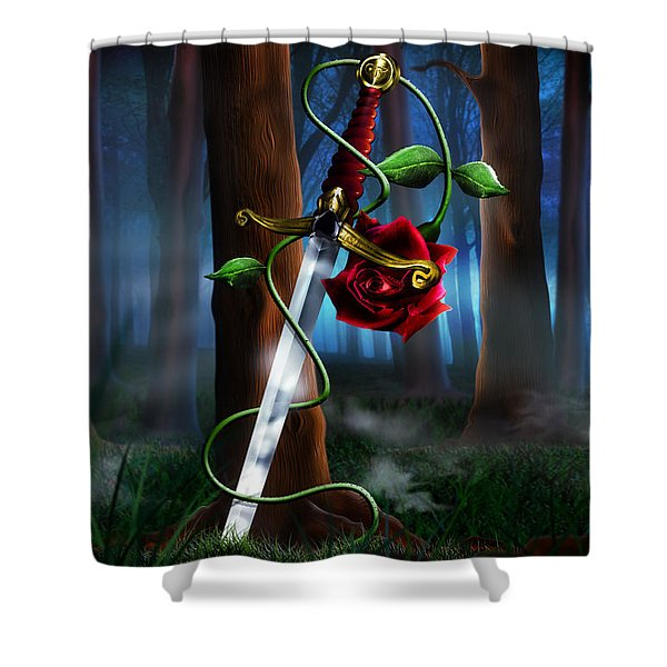 Sword And Rose Shower Curtain