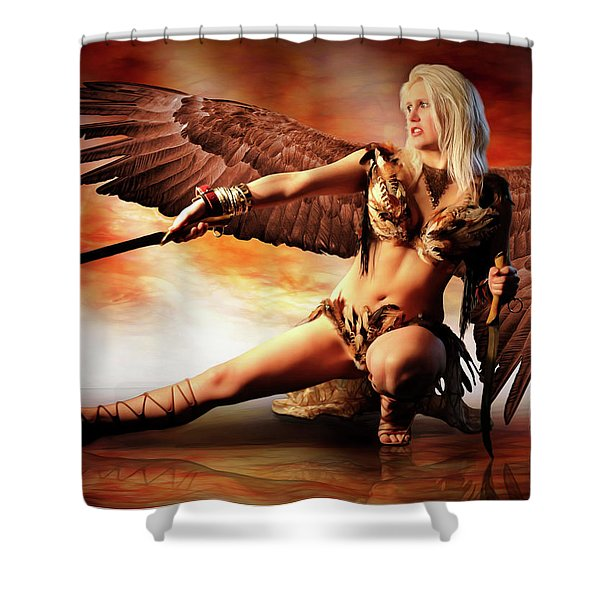 Swords Of The Hawk Woman Shower Curtain