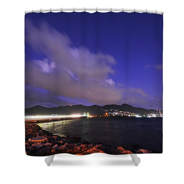 Sxm Saint Martin Bridge Lit Up At Night Light Trails Shower Curtain