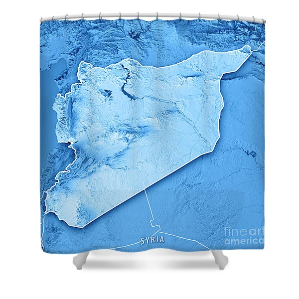 Syria Country 3d Render Topographic Map Blue Border Shower Curtain