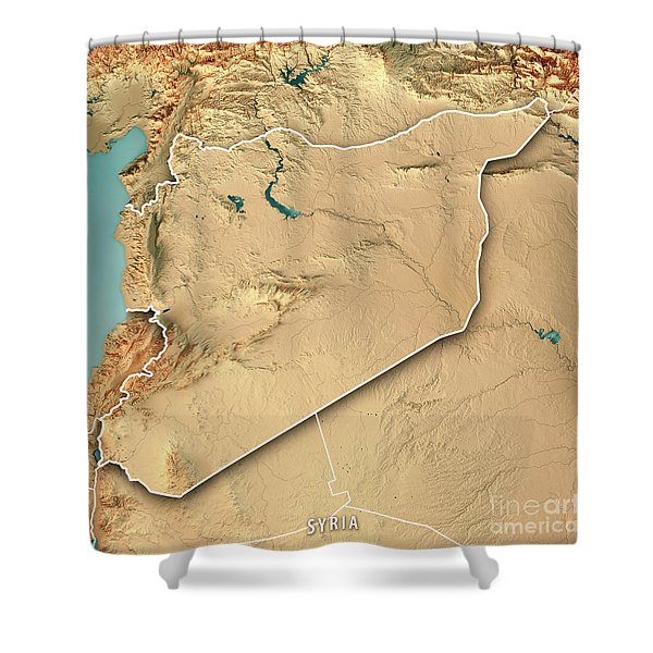 Syria Country 3d Render Topographic Map Border Shower Curtain