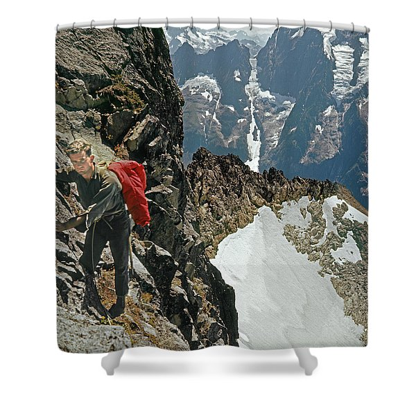 T-04403 Walt Buck Sellers On First Ascent Of Mt. Torment Shower Curtain