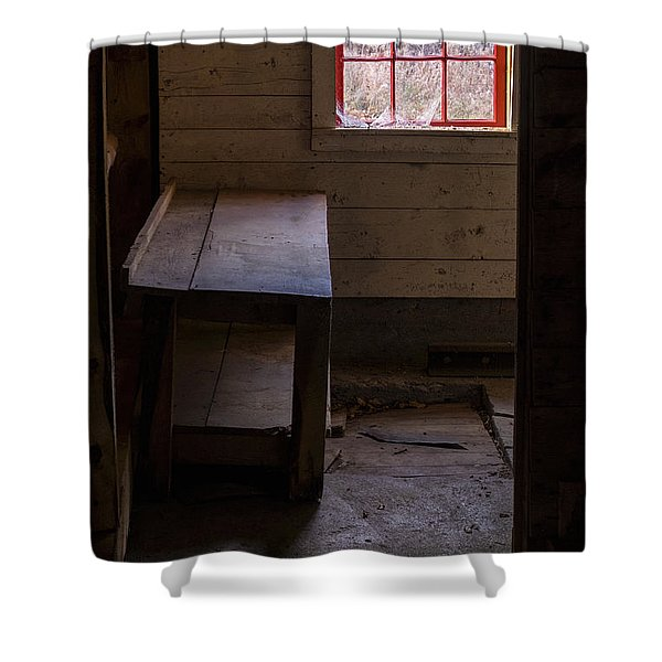 Shower Curtain featuring the photograph Table And Window by Tom Singleton