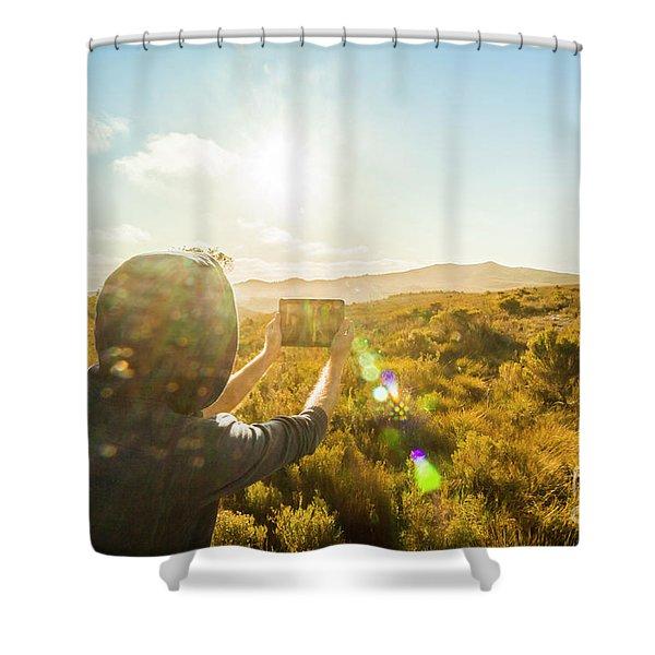 Tablet Traveling Tasmanian Shower Curtain