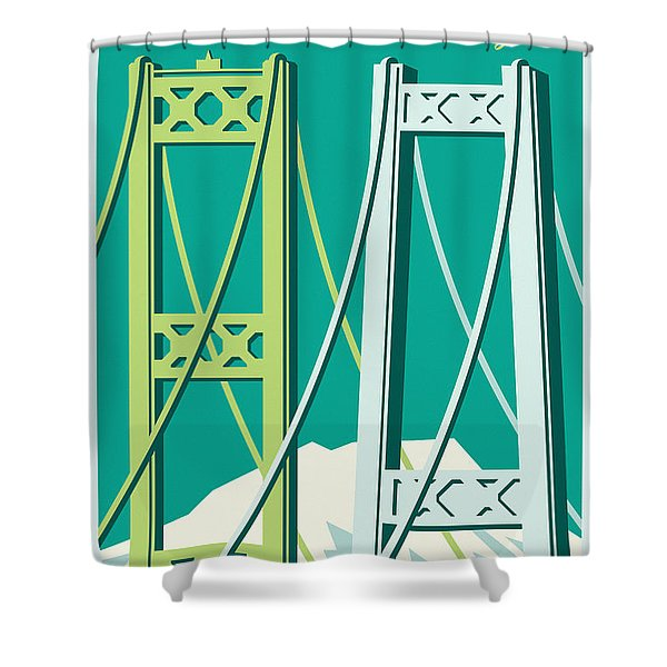 Tacoma Poster - Vintage Style Travel  Shower Curtain