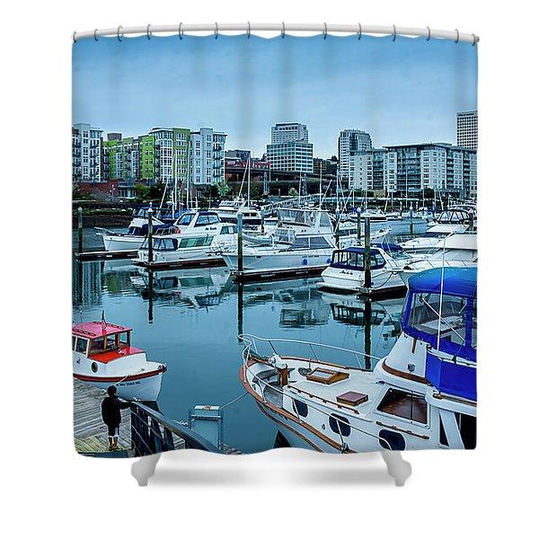 Tacoma Waterfront Marina,washington Shower Curtain