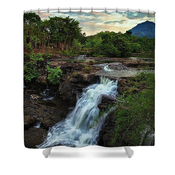 Tad Lo Waterfall, Bolaven Plateau, Champasak Province, Laos Shower Curtain