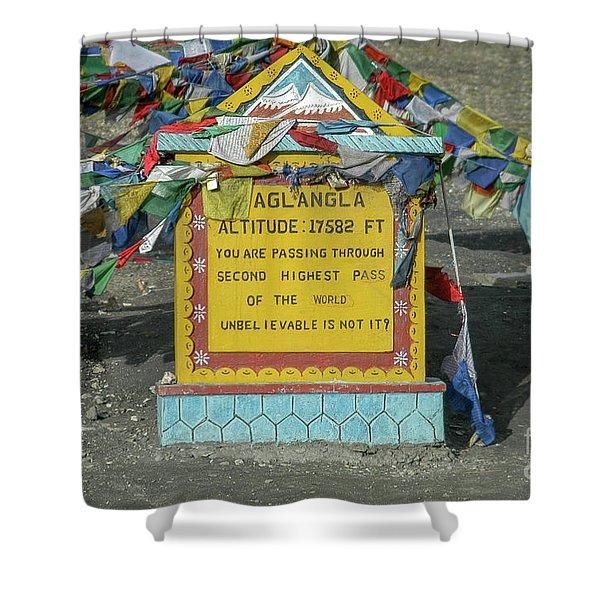 Taglang La Pass,17582 Feet Altitude, Ladakh, India Shower Curtain
