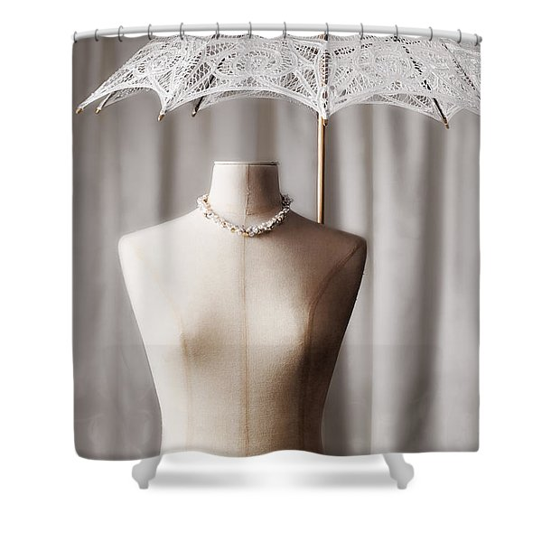 Tailors Dummy With Parasol Shower Curtain