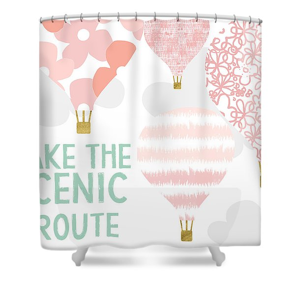 Take The Scenic Route Pink- Art By Linda Woods Shower Curtain