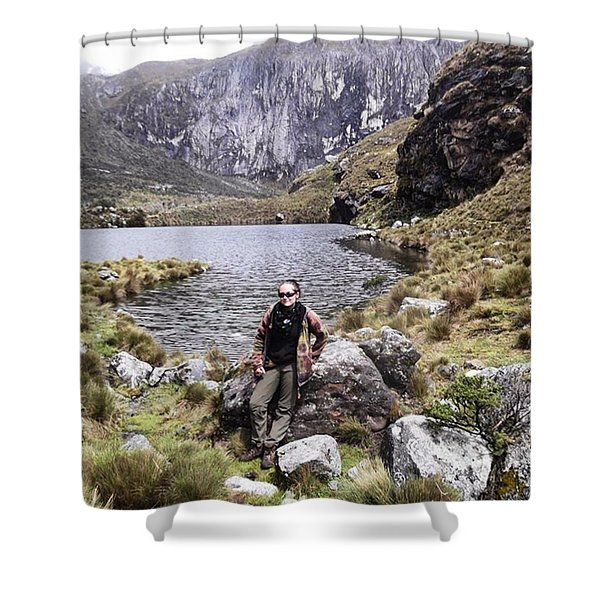 Taking A Breather While Hiking Up In Shower Curtain
