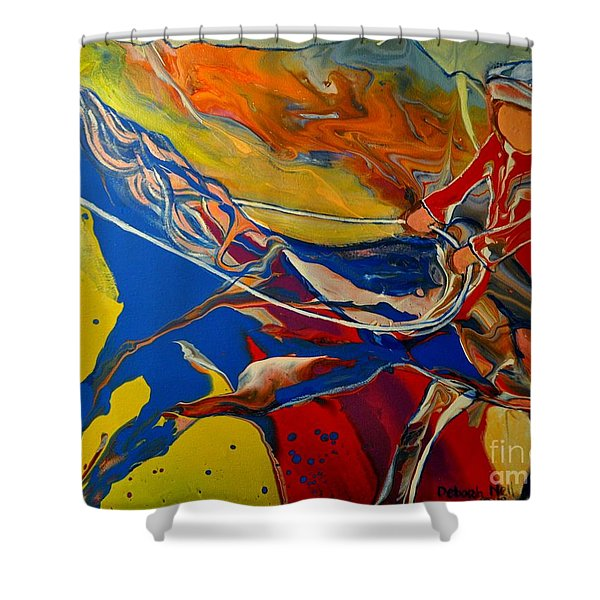 Shower Curtain featuring the painting Taking The Reins by Deborah Nell