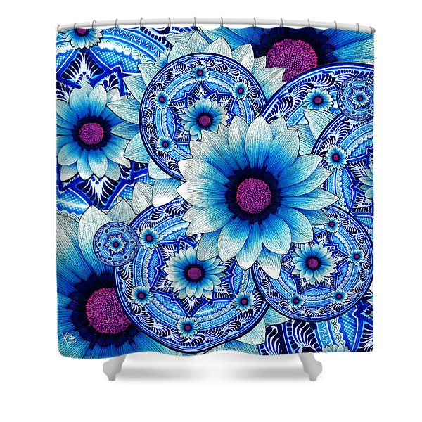 Shower Curtain featuring the mixed media Talavera Alejandra by Christopher Beikmann
